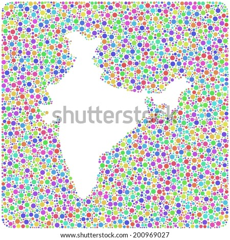 Decorative map of India in a mosaic of little circles - stock vector