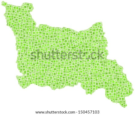 Decorative map of Lower Normandy - France - in a mosaic of green squares. A number of 4646 little squares are accurately inserted into the mosaic. White background. - stock vector