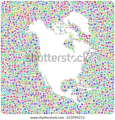 Decorative map of North America Continent into a square icon. Mosaic of harlequin bubbles - stock vector