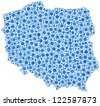 Decorative map of Poland - Europe - in a mosaic of blue bubbles.  A number of 2605 little cirlces are accurately inserted into the mosaic. White background.  - stock vector