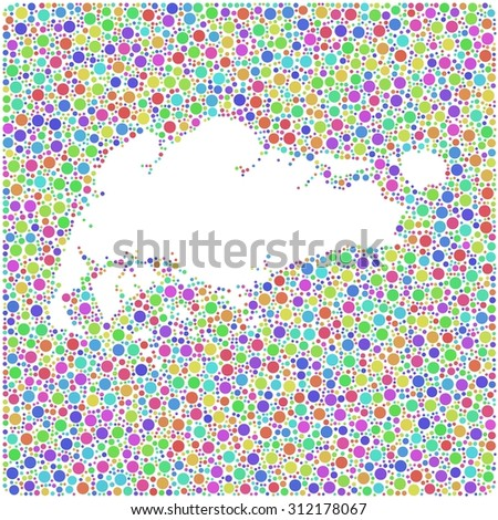 Decorative map of Singapore into a square colored icon - stock vector