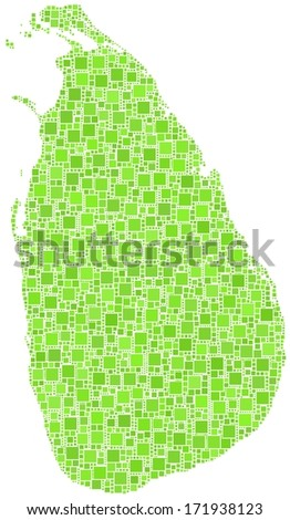 Decorative map of Sri Lanka - Asia - in a mosaic of green squares.  A number of 3860 little green squares are accurately inserted into the mosaic. - stock vector