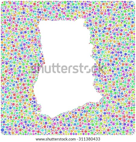 Decorative map of the Republic of Ghana - Africa - into a square colored icon - stock vector