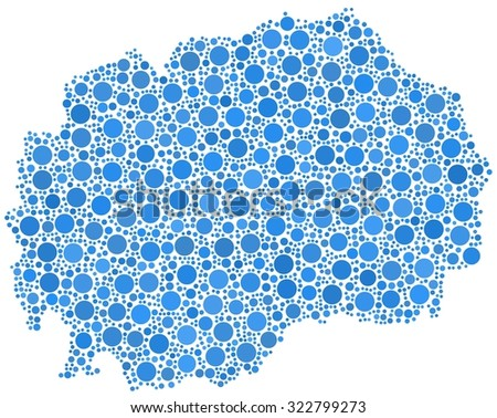 Decorative map of the Republic of Macedonia in a mosaic of blue bubbles - stock vector