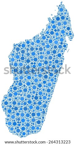 Decorative map of the Republic of Madagascar - Africa - in a mosaic of blue bubbles - stock vector
