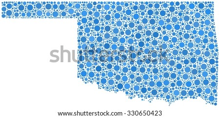 Decorative map of the State of Oklahoma - USA - in a mosaic of blue bubbles - stock vector