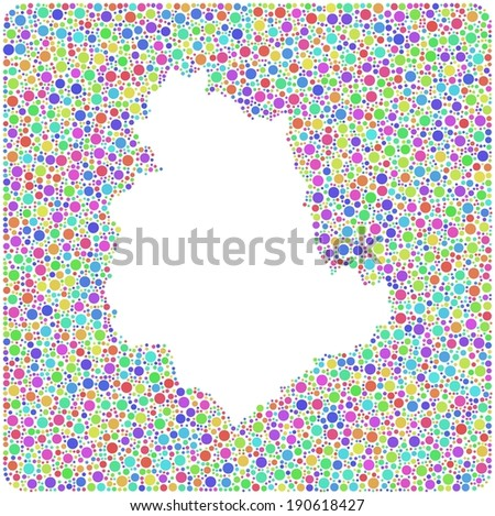 Decorative Map of Umbria - Italy - into a square icon. Mosaic of harlequin circles - stock vector
