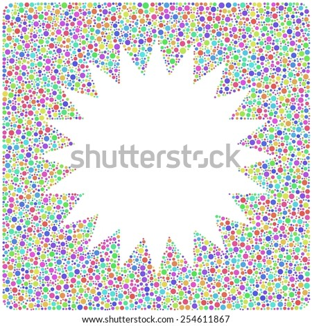 Decorative mesh of a Star into a square sign. Mosaic of harlequin circles - stock vector