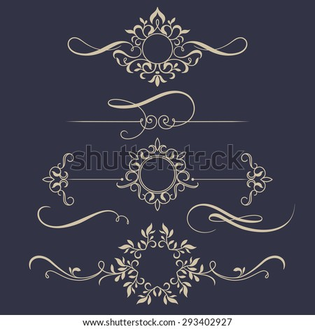 Decorative monograms and calligraphic borders. Template signage, logos, labels, stickers, cards. Graphic design page. Classic design elements for wedding invitations. - stock vector