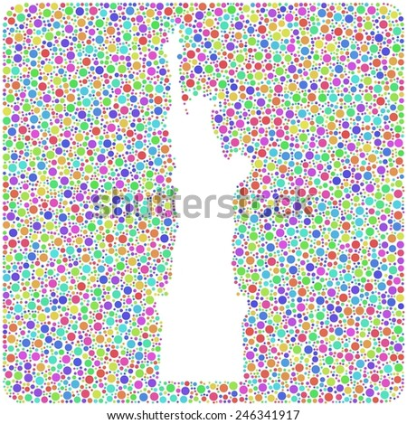 Decorative mosaic of the Statue of Liberty - New York - in a mesh of harlequin little circles - stock vector