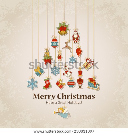 Decorative objects in fir tree silhouette. Merry Christmas and Happy New Year sticker label decorations modern style vector postcard template. Stylish concept icons set of Xmas and winter holidays. - stock vector