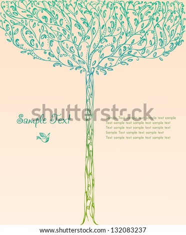 Decorative ornamental background with image of fantasy blooming spring tree and place for your text. Template for design greeting cards, covers, books, brochures - stock vector