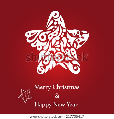 Decorative ornamental Christmas star on gradient red background. Vector illustration EPS10. - stock vector