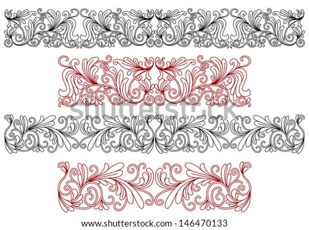 Decorative ornaments and borders with flourishes and embellishments. Jpeg version also available in gallery - stock vector