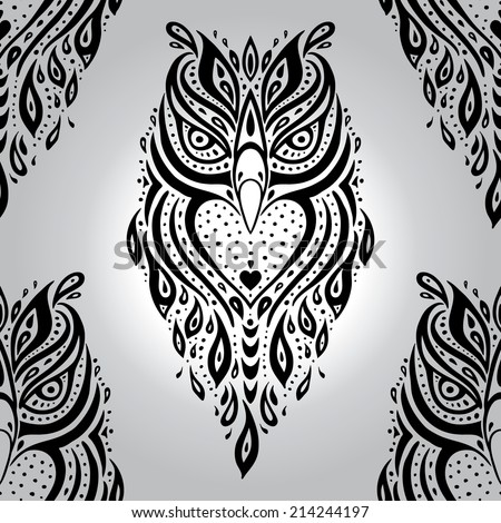 Decorative Owl. Polynesian tribal pattern. Seamless Vector background. - stock vector