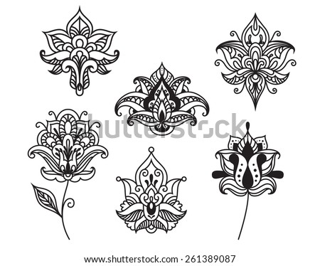 Decorative persian and indian paisley flowers in outline style isolated on white for ornate and embellishment design - stock vector