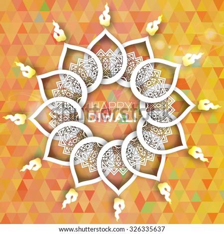Decorative Polygonal Paper Diwali Diya - Oil Lamp Design. Vector illustration - eps10 - stock vector