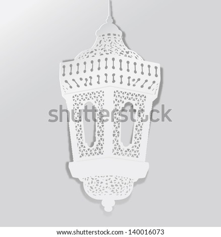 Decorative Ramadan lantern- paper craft style vector - stock vector