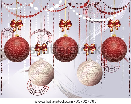 Decorative red and white Christmas glass balls, holiday ornaments. - stock vector