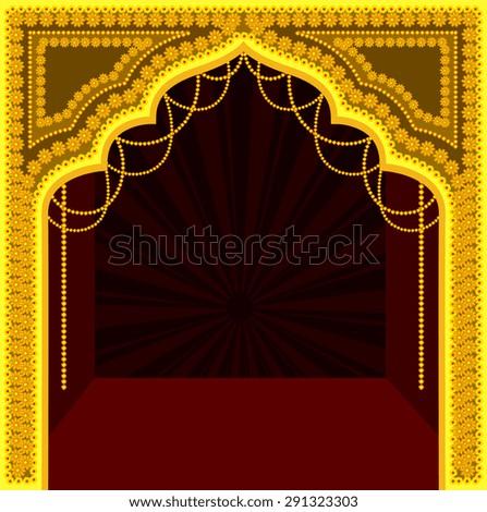 Decorative Royal Temple Frame Design - stock vector