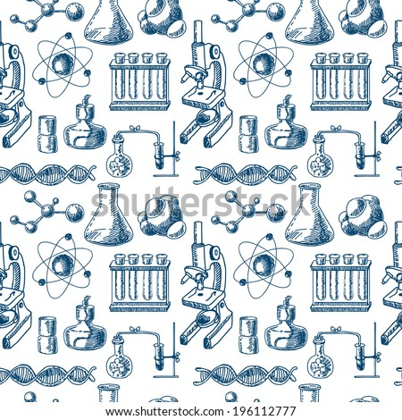 Decorative scientific chemical  laboratory equipment glass tubes structure dna symbols doodle sketch design seamless pattern vector illustration - stock vector