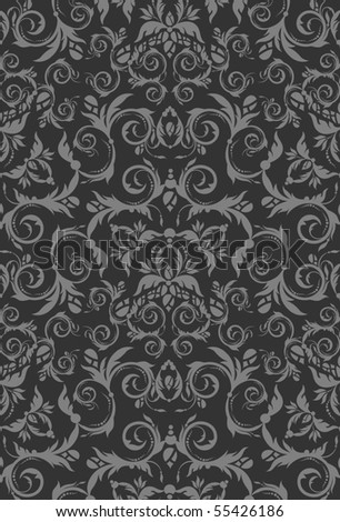 Decorative seamless floral beauty royal gray ornament - stock vector