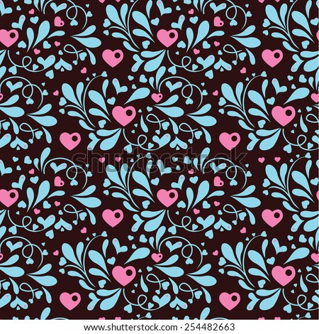 decorative seamless floral pattern with hearts - stock vector