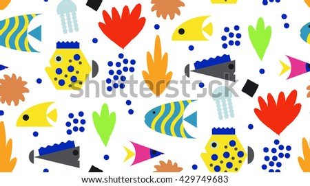 Decorative seamless marine  pattern. Underwater background.Corals, seaweeds and fish on white. - stock vector