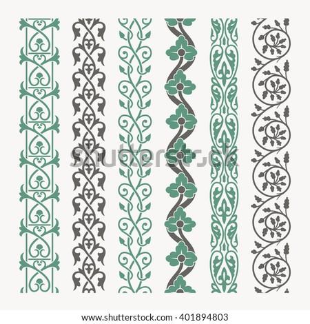 Decorative seamless ornamental borders set - stock vector