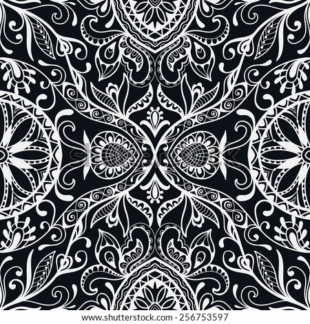 Decorative seamless pattern. Hand drawn ethnic tribal ornament. Vector floral and geometric background. Black and white - stock vector