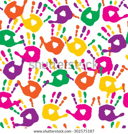 Decorative seamless pattern with a handprints - stock vector