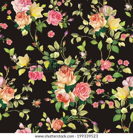 Decorative seamless pattern with beautiful shabby roses. Elegance floral vector illustration - stock vector