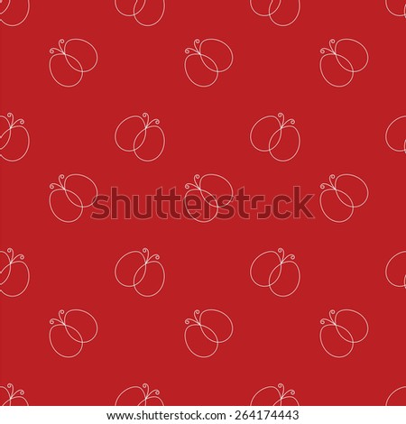 decorative seamless pattern with contours of butterflies - stock vector