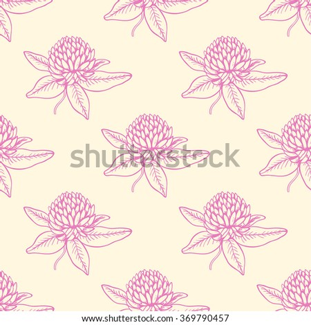 Decorative seamless pattern with pink clover flowers - stock vector