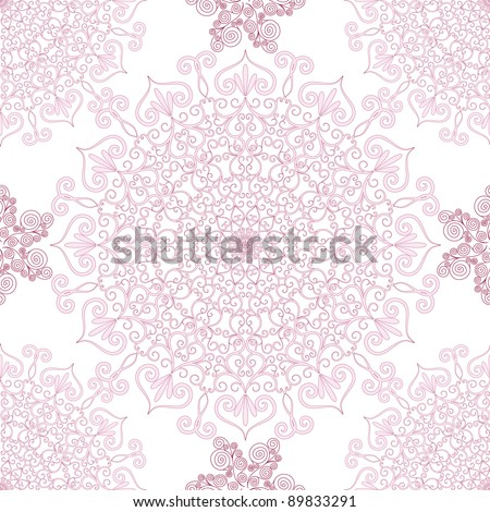 Decorative seamless pattern with round vintage frames (vector) - stock vector