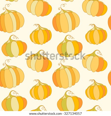 Decorative seasonal pumpkin background. Seamless vector pattern. - stock vector