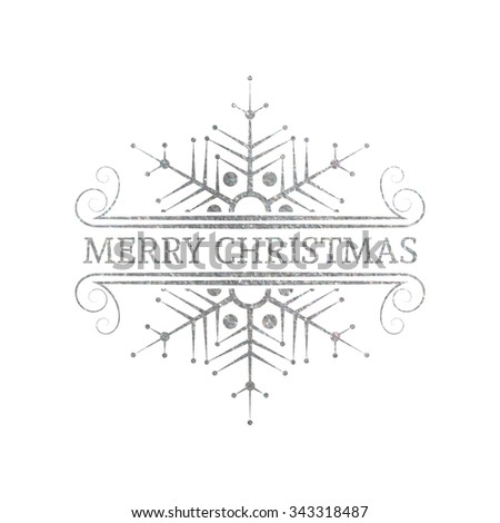 Decorative silver textured Christmas design element. Typographic vintage Christmas label, frame, border, badge, logo. Vector illustration for Christmas banner, invitation, postcard, card, vignette. - stock vector