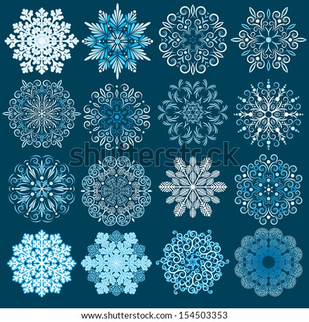 Decorative Snowflakes Vector Set. - stock vector