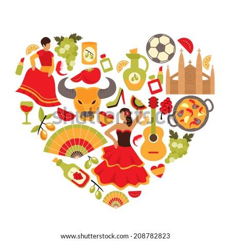 Decorative spain cultural traditions flamenco dance food grape vine emblems heart shape print poster abstract vector illustration - stock vector