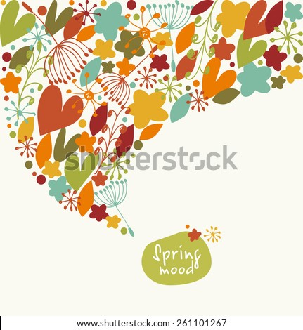 Decorative stylish banner. Ornate border with hearts, flowers leaves. Design element with many cute details - stock vector