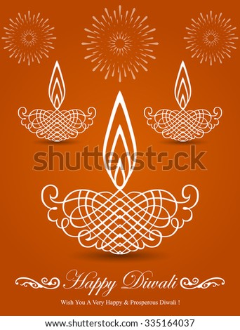 Decorative Stylish Diwali Lamp Design - stock vector