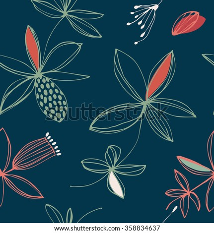 Decorative stylish floral seamless pattern. Vector background with cute flowers - stock vector