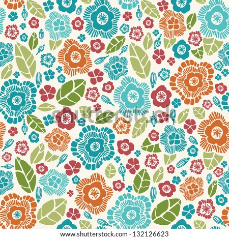 Decorative stylish spring seamless floral pattern. Bright endless texture with flowers and petals. Template for design and decoration - stock vector