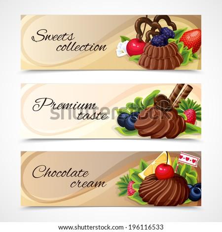 Decorative sweet desserts horizontal banners premium taste collection vector illustration - stock vector