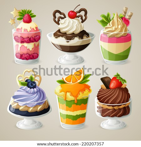 Decorative sweets ice cream and mousse in glass desserts with chocolate fruits and mint isolated vector illustration - stock vector