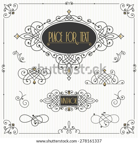 Decorative swirls vector set. Vintage borders, vignettes, scroll elements - stock vector