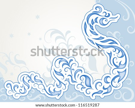 Decorative swirly snake, new year vector background - stock vector