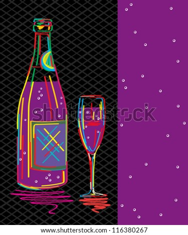 Decorative text card, party invitation with stylized champagne bottle and glass. - stock vector