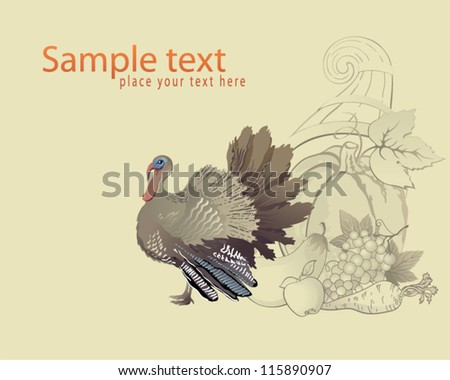 Decorative Thanksgiving background with turkey and cornucopia - stock vector