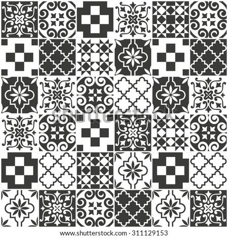 Decorative tile pattern design. vector illustration - stock vector
